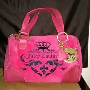 💋Hottt Pink Velour & Leather Juicy Couture Hobo